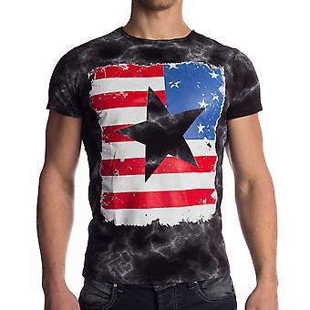 Camiseta de manga corta para hombre Vintage camiseta América Bandera USA nos negro blanco estrellas