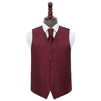 Burgundy Solid Check Wedding Waistcoat & Cravat Set