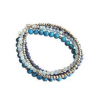 Gemshine conjunto pulseira de prata do mar turquesa Aquamarine lapis lazuli azul 925 prata