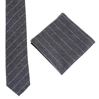 Knightsbridge Neckwear skrå Stripe slips og Pocket Square sett - gråhvit