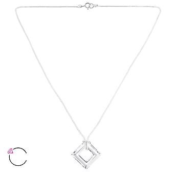 Square Crystal From Swarovski® - 925 Sterling Silver + Nylon Cord Necklaces - W27963x