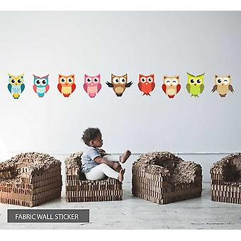 Fabric Reusable Wall Decal Colourful Set Of 9 Owls