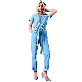 LMS Light Denim Jumpsuit With Button Down Front And Tie Waist