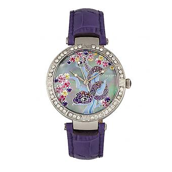 Bertha Mia Mother-Of-Pearl Leather-Band Watch - Purple