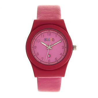 Crayo Dazzle Leather-Band Watch w/Date - Pink