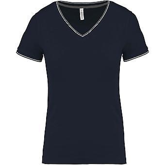 Kariban Womens/Ladies Tipped Pique V Neck T-Shirt