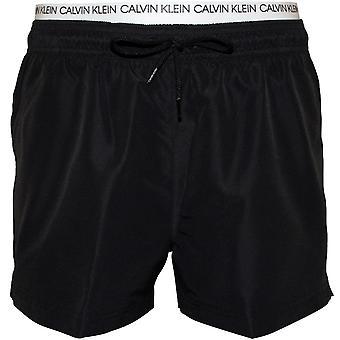 Calvin Klein Double-Waistband Athletic-Cut Swim Shorts, Black