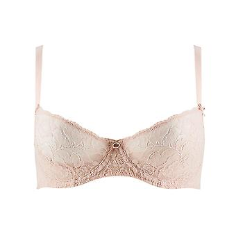Aubade HK14 Women's Rosessence Nude D'ete Floral Lace Padded Underwired Half Cup Bra