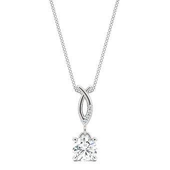 14K White Gold Moissanite by Charles & Colvard 5mm Round Pendant Necklace, 0.52cttw DEW