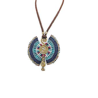 Golden Metal Spiral pendant necklace and Blue Pearls 2573