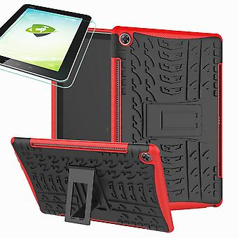 For Samsung Galaxy Tab A 10.1 T510/T515 2019 Hybrid Outdoor Cover Red Bag + 0.3 H9 Protective Glass