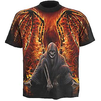 Spiral Direct Gothic FLAMING DEATH - Allover T-Shirt Black AlloverPrint Flames Reaper Wings