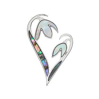 Collezione eterna Snowdrop cuore Paua Shell e madre di tono argento perla spilla