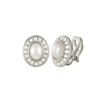 Eternal Collection Shalimar Crystal And Faux Pearl Silver Tone Stud Clip On Earrings