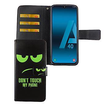 Samsung Galaxy A40 Tasche Handy Hülle Schutz-Cover Flip-Case mit Kartenfach Don't touch my phone