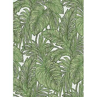 Green Palm Leaf Glitter Wallpaper White Floral Paste The Wall Vinyl Erismann