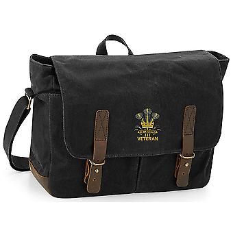 The Prince Of Wales Leinster Regiment Veteran - Licensed British Army Embroidered Waxed Canvas Messenger Bag