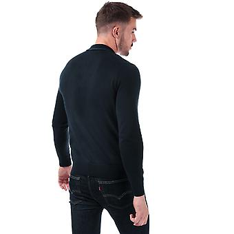 Mens Ben Sherman Tipped Collar Long Sleeve Knit Polo Shirt In Navy- Long Sleeve-