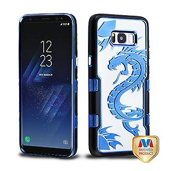 MYBAT Metallic Black/Electroplating Blue Dragon (Transparent Clear) TUFF Panoview Hybrid Case for Galaxy S8 Plus