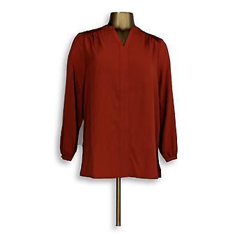 سوزان Graver المرأة & ق المنسوجة Y-الرقبة الأكمام الطويلة ث / الطيات الأحمر A257102
