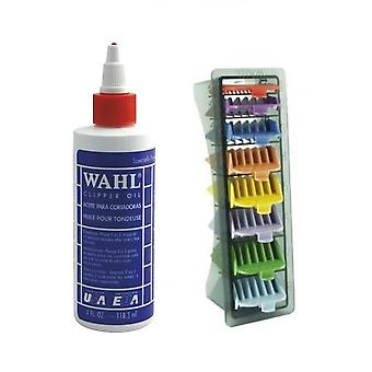 Wahl Clipper Oil 4oz and Wahl 1-8 Coloured Clipper Comb Set