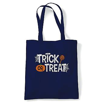 Trick Or Treat Tote | Halloween Fancy Dress Costume Trick Or Treat | Reusable Shopping Cotton Canvas Long Handled Natural Shopper Eco-Friendly Fashion