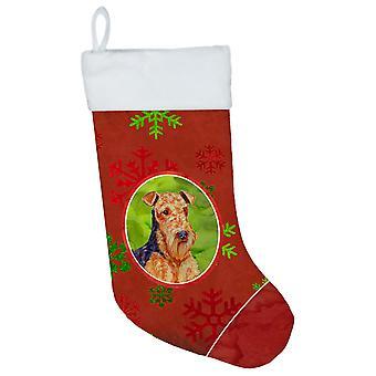 Airedale punavihreä lumihiutaleet Holiday joulu joulun sileää LH9336