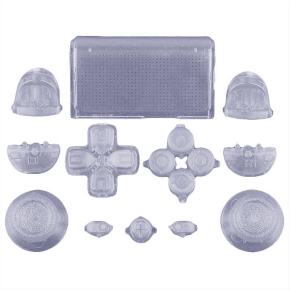 Full replacement button set mod kit for 1st gen sony ps4 controllers - transparent clear