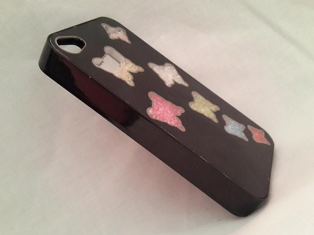 Apple Iphone 4 4S Case Beads (7 Butterflys) Black