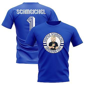 Kasper Schmeichel Leicester Illustration T-Shirt (Blue)
