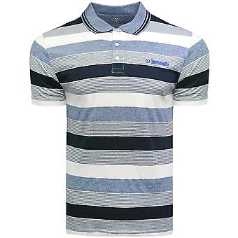 Lambretta Mens Grindle Stripe Short Sleeve Casual Top Polo Shirt - Navy/Denim