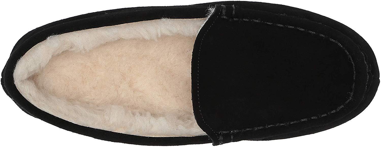 Essentials Kvinner's Skinn Moccasin Slipper, Svart, 5 M USA