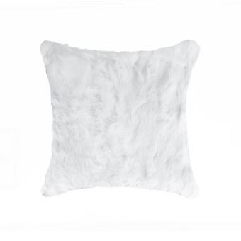 "5"" x 18"" x 18"" 100% Natural Rabbit Fur White Pillow"