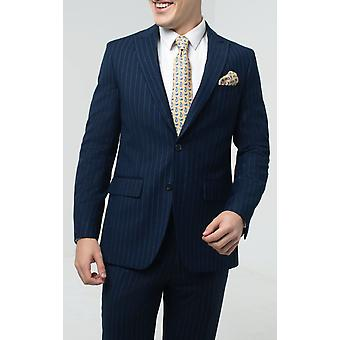 Dobell Hombres Navy Stripe Suit Chaqueta Regular Fit Peak Lapel