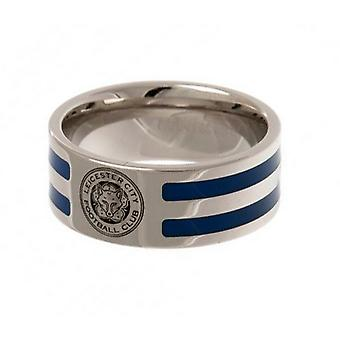 Leicester City FC Official Colour Stripe Football Crest Ring