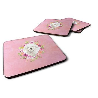 Set of 4 Bichon Frise Pink Flowers Foam Coasters Set of 4