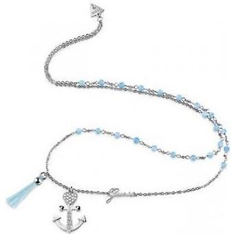 Halsband och hängsmycke UBN85113 - stål blå himmel och hänge Talisman ankare kvinna