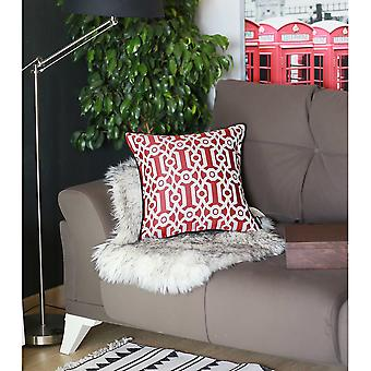 Red and White  Jacquard Geo Decorative Throw Pillow Cover