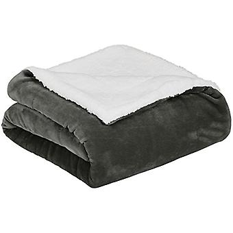 AmazonBasics Soft Micromink Sherpa Throw Blanket - King,, Charcoal, Size King