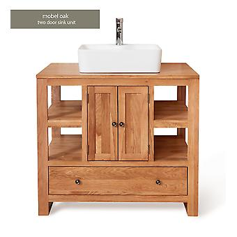 Baumhaus Mobel Oak Bathroom Collection Two Door Single Sink Unit Square