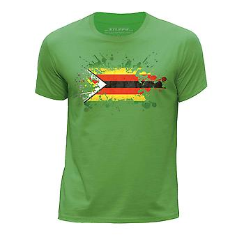 STUFF4 Guttens rund hals T-skjorte/Zimbabwe flagg feilindikator/grønn