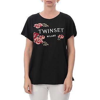 Twin-set 192tp258000006 Women's Black Cotton T-shirt
