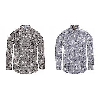 Brave Soul Mens Idris Long Sleeve All Over Patterned Shirt