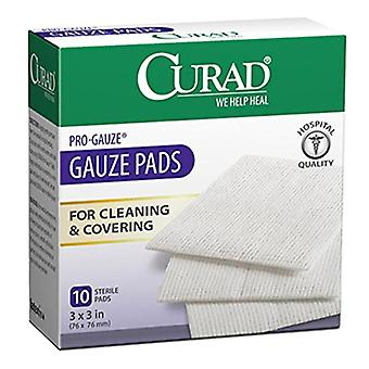 Curad pro-guaze gasbind pads, 3 tommers x 3 tommer, 10 ea