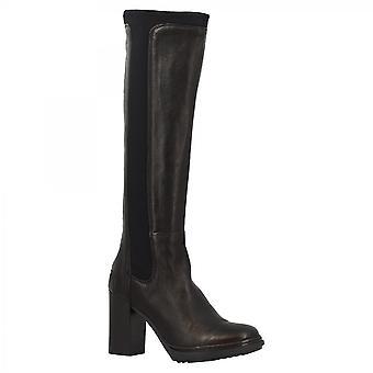 Leonardo Shoes Women-apos;s hanmdade talons hauts bottes de genou en cuir de veau noir
