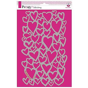 Pronty Crafts Hearts A4 Pochoir