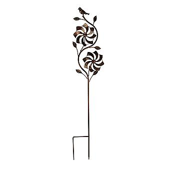 Bronze Finish Metal Art Flower Double Spinner Wind Sculpture Garden Stake, Pinwheel
