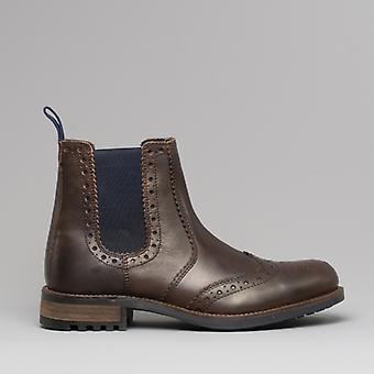 Catesby Shoemakers Ragnar Mens Brogue Chelsea Ankle Boots Brown