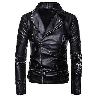Cloudstyle Men's Faux Leather Multi Zippers Letter Motorcycle Jacket