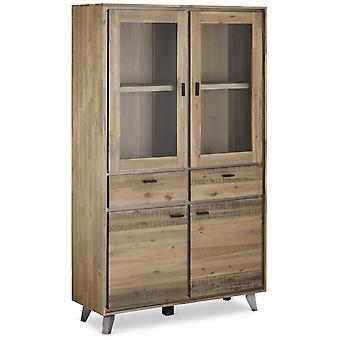 Furnhouse Malaga Glass Cabinet, Solid Acacia,2 Shleves/2 Drawers, 110x40x187 cm